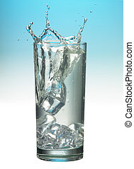 79 splashing glass of water with ice