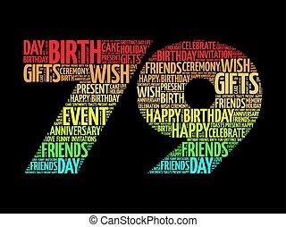 79th, aniversário, palavra, nuvem, feliz