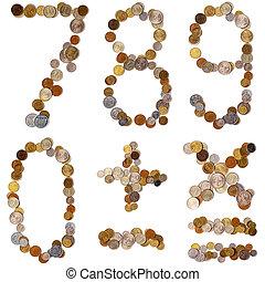 7_8_9_0_+_-_x_=, alphabet, lettres, depuis, les, pièces