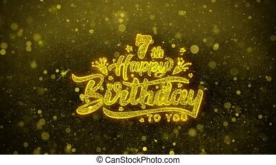 7th Happy Birthday Wishes Greetings card, Invitation, Celebration Firework