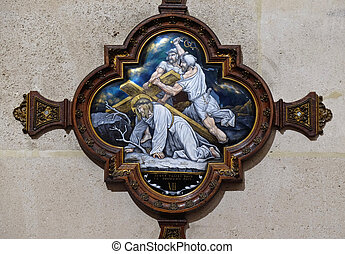 7th Stations of the Cross, Jesus falls the second time, St Francis Xavier's Church in Paris, France