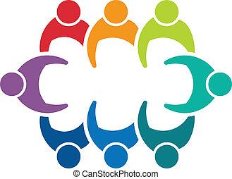 8人の人々, image., ビジネス, 板