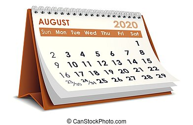 8月, 2020, カレンダー