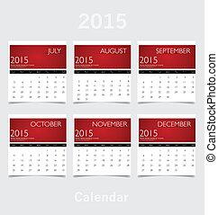 8月, nov, 9 月, 単純である, 10 月, 年, 2015, カレンダー, (july
