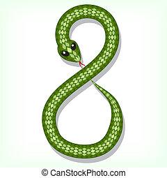 8, ディジット, ヘビ, font.