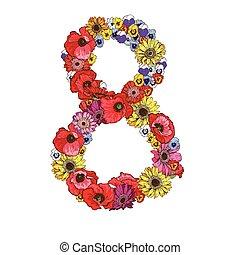 8, ディジット, 作られた, の, 別, flowers., 花, 要素, の, カラフルである, アルファベット, 作られた, から, flowers., ベクトル, イラスト
