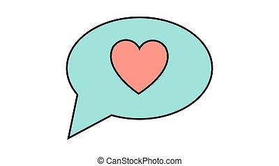 8., バレンタイン, 美しい, ごちそう, ∥あるいは∥, 心, 日, アイコン, イラスト, 愛, ベクトル, 考え, 雲, 3月, 対話, 単純である, flat-style