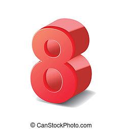 8, 光沢がある, 数, 赤, 3d