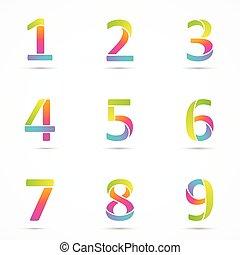 8, 2, cor, 7, 6, 1, 5, 4, números, 3, 9, logotipo, fonte,...