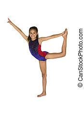 8, año viejo, niña, en, gimnasia, posturas