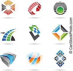 8, abstract, set, gevarieerd, iconen
