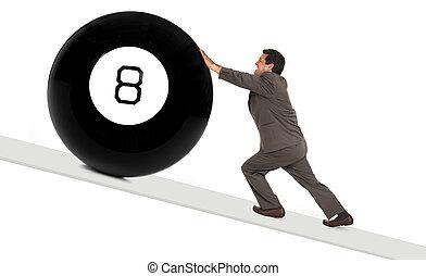 8, atrás de, bola