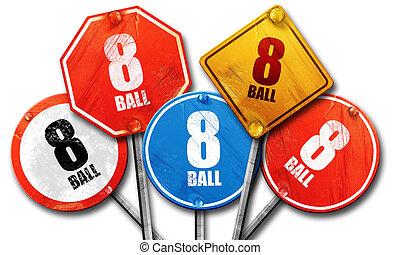 8 ball, 3D rendering, street signs