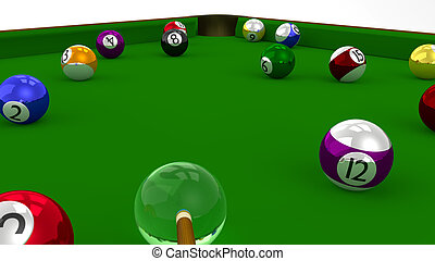 8 Ball Pool 3D Game in Playing on Green Table