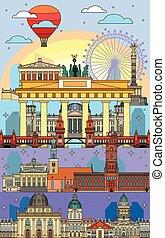 8, berlin, art, coloré, ligne