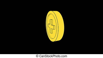 8 bit coins spinning around looped animation