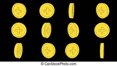 8 bit coins spinning around seamless animation