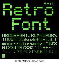 8 bit font - Old computer pixel interlaced font. like on ...