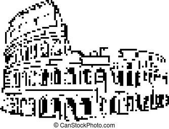 8-bit, italien, isolerat, illustration, rom, vektor, svart fond, vit, colosseum