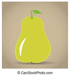 8-bit object - Isolated pixeled pear on a light brown...