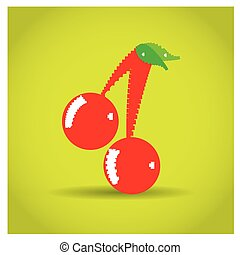 8-bit object - Isolated pixeled cherry on a yellow...