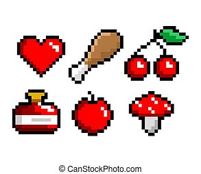 8-bit pixel art icons set. Meat, potion heart cherry mushroom Game assets. Isolated vector illustration.