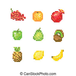 8 Bit Pixel Fruits - set of pixelated fruits