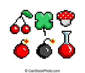 8-bit pixel graphics icon set. cherry clover potion bomb poisonous mushroom. Game assets. Isolated vector illustration.