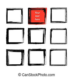 8 Black grunge square Frames and One Red.eps