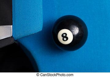 8 bola, descansar, perto, a, bolso