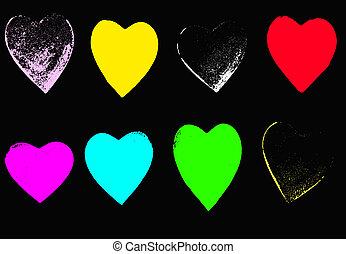 8 bright Grunge hearts on Black