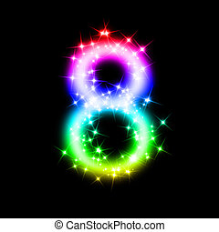 8, brilhar, número