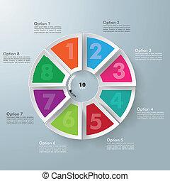 8, círculo, colorido, pedazos