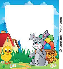 8, cadre, paques, thème, lapin