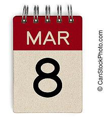 8, calendário, arruine
