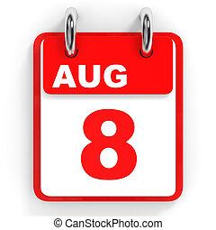 8, calendrier, arrière-plan., august., blanc