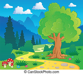 8, caricatura, paisaje, bosque