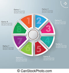 8 Circle Colorful Pieces With Centre