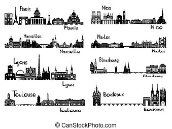 8 cities of France - Vector illustration of silhouettes of ...