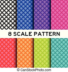 8 color of fish scale pattern background