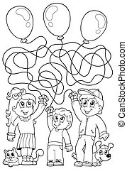 8, coloração, crianças, livro, labirinto