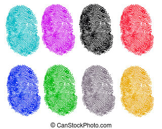8 Colored Fingerprints - 8 Colored Vector Fingerprints -...