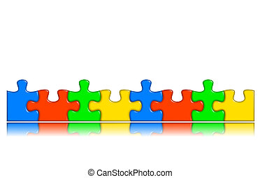 8 Combined multi-color puzzle pieces with reflection