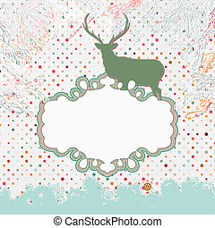 8, deer., eps, カード, クリスマス