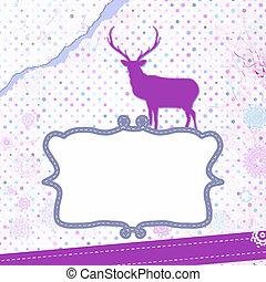 8, deer., eps, carte, noël