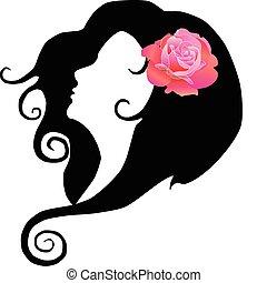 8, dziewczyna, wektor, rose., eps