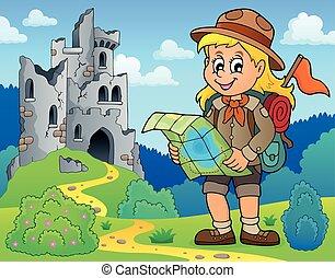 8, exploradora, tema, imagen