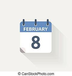 8, fevereiro, calendário, ícone