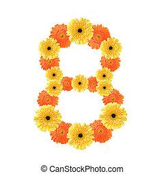 8, flores, número, criado