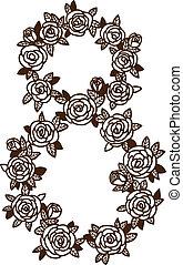 8, flowers., huit, nombre